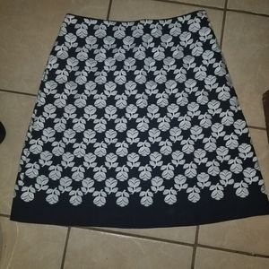 Boden embroidered white floral navy pencil skirt